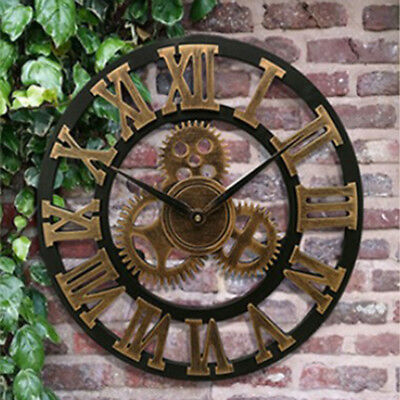 Antique Wall Clock Old Roman Numeral Wheel Round Quartz Clock 13inch Gold