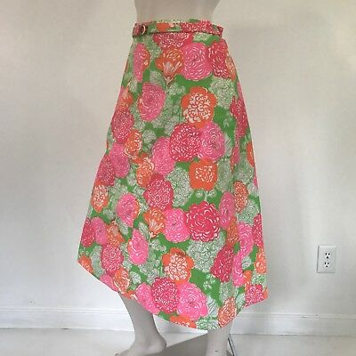 Lilly Pulitzer Skirt Vintage 70s Floral Wrap Pink Green A Line Pockets The Lilly
