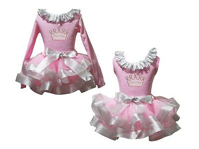 Princess Crown Lacing Pink Top Bling Silver Trim Skirt Girls Outfit Set NB-8Y