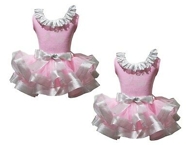 My 1st 2nd Easter Lacing Pink Top Silver Satin Trim Skirt Girls Outfit Set NB-8Y