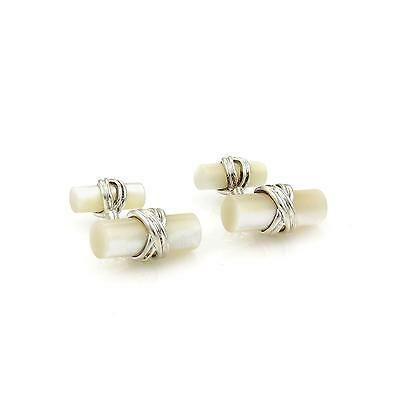 Tiffany & Co. Mother of Pearl Sterling Silver Log Style Stud Cufflinks