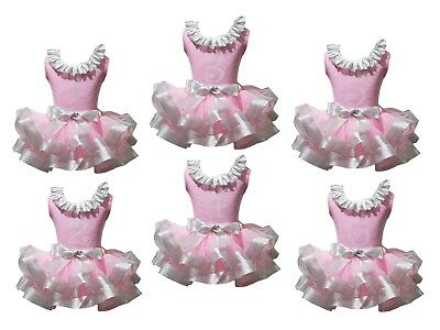 Sparkle 1st 2nd 3rd Lacing Pink Top Silver Satin Trim Skirt Girls Outfit NB-8Y