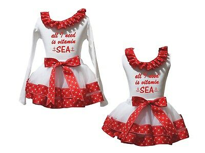 All I Need Is Vitamin Sea White Top Red Sailor Trim Skirt Girls Outfit Set NB-8Y