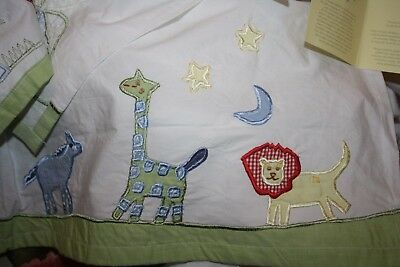 Pottery Barn Kids Circus Safari Animals CribSkirt Dust Ruffle Elephant Giraffe