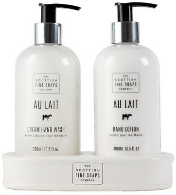 Scottish Fine Soaps Au Lait Hand Care Set (Hand Wash, Lotion & Ceramic Stand)