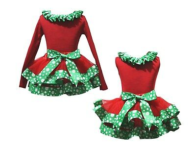Plain Xmas Lacing Red Top Green White Dots Trim Skirt Girls Outfit Set NB-8Y