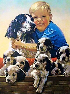 ANTIQUE HUNTING PHOTOGRAPH REPRINT 8 x 10 BOY WITH ENGLISH SETTER AND PUPPIES