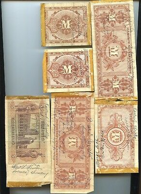 """Wwii """"short Snorter"""" Separated Roll Of 6 Notes"""