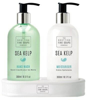 Scottish Fine Soaps Sea Kelp Hand Care Set (Hand Wash, Lotion & Ceramic Stand)