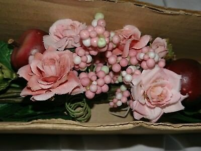 """Home Interiors Pink Roses Red Apples Berries  Swag 24"""" Floral"""
