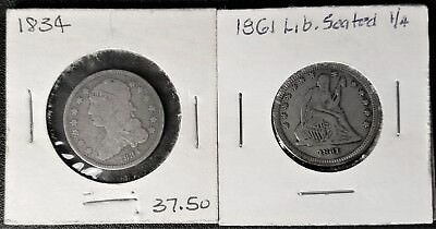 1834 Capped Bust & 1861 Seated Liberty Quarter Dollar Very Good Condition