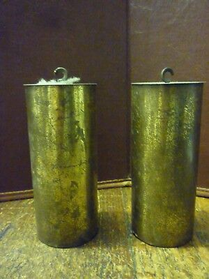 Pair Of Original Brass Cased Vienna Wall Clock Weights