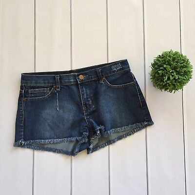 26dc40a513 Forever 21 short Shorts- Blue Denim Distressed Button Zip Fly Low Rise- 27