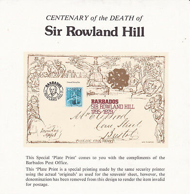 Barbados Centenary of Death of Sir Rowland Hill Special Plate Print VGC