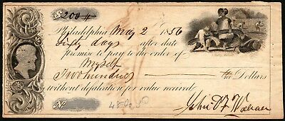 PROMISSORY NOTE~1856~Philadelphia PA~Engraved & Printed by J. Hufty~ABNC