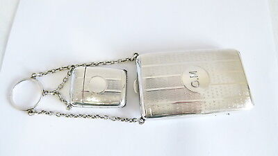 Mappin and Webb Sterling Silver Birmingham 1918 Cigarette and Vesta Case