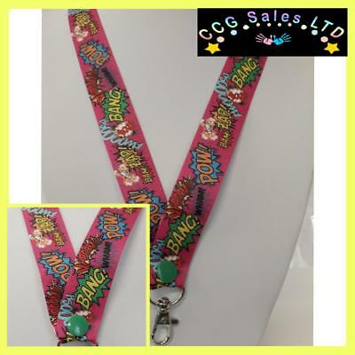 Handmade Blue Unicorn Ribbon Lanyard Complete With Safety Release Clip