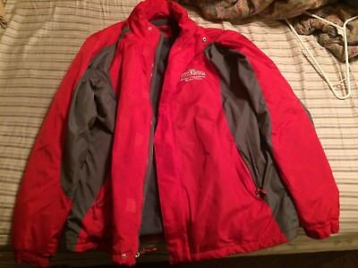 Papa Johns Pizza Heavy Coat Jacket with built in Hood button zip up Medium M