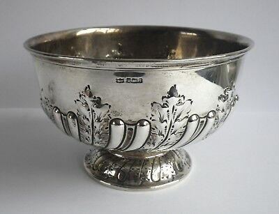 Edwardian 1909 Mappin & Webb Antique Solid Silver Rose / Fruit Bowl C430