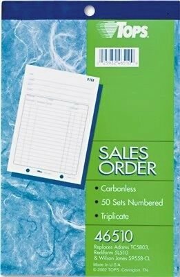 10 books TOPS Sales Order 3-Part Carbonless 5-9/16 x 7-15/16 46510 numbered