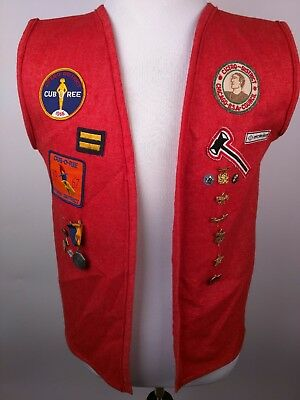vintage boy cub scout red wool vest with 14 patches & 14 pins/medals 1940-1960