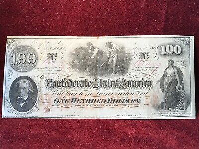 Confederate States Of America $100 Issued Jan. 5Th 1863