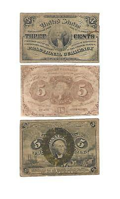 3  U.S. Fractional 2 -5 CENTS notes + 1 -3 CENTS note   1860s  aVG/aFine