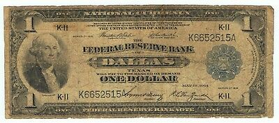 1918 $1.00 FEDERAL RESERVE BANK NOTE- DALLAS TEXAS, One Dollar