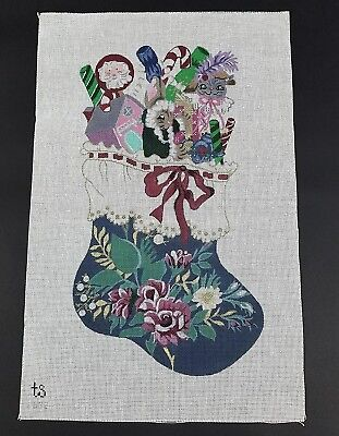 Hand Painted Needlepoint Canvas Christmas Stocking TS Designs #692 24 x 16 VTG