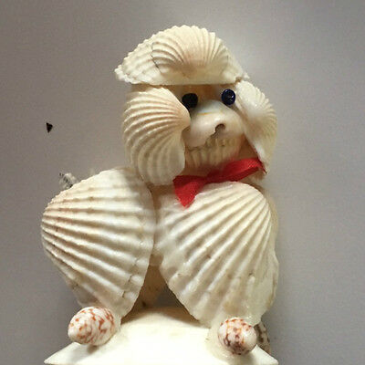 VINTAGE POODLE - a fine execution MADE ENTIRELY OF SEASHELLS AND HANDPAINTED