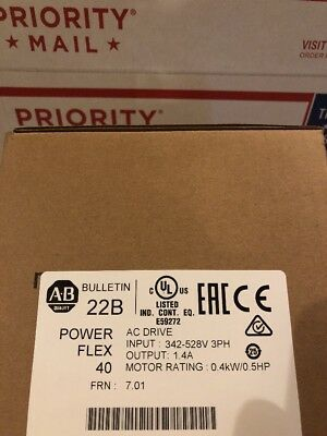 NEW Allen Bradley 22B-D1P4N104 0.5HP 3Ph PowerFlex 40 AC Drive FRN 7.01