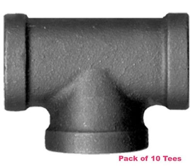 "1/2"" BLACK MALLEABLE IRON TEE 3-way fitting pipe npt 10 Pack"