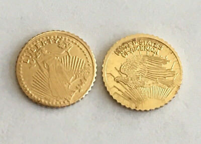 Two (2) Bright, Beautiful Uncirculated Mini Saint-Gauden Coins