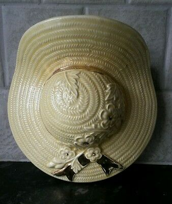 Vintage Ceramic Straw Hat Wall Hanging  Pocket Vase With 22 Carat Gold
