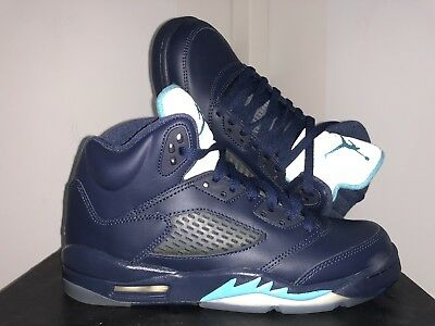 buy popular e1a46 9c195 AIR JORDAN 5 Retro BG GS Hornets Midnight Navy Sz 5.5y Kids Youth Girls DB  OVO