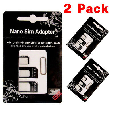 2x 4 IN 1 PACK NANO TO MICRO & STANDARD SIM CARD ADAPTER FOR ALL MOBILE PHONES