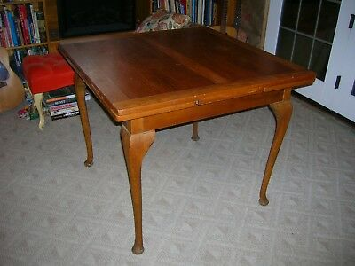 Antique Queen Anne Draw Leaf Dining Table Solid Walnut Maple 1900's Pub Style