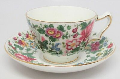 Crown Staffordshire Fine Bone China - Chintz Floral Cup & Saucer Set England