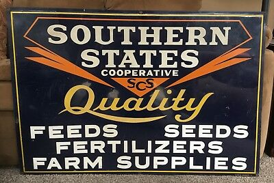 1939 Rare Vintage Southern States Feeds Seeds Fertilizers Farm Reflective Sign