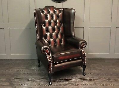 Chesterfield Mallory Flat Wing Queen Anne High Back Chair Oxblood Leather