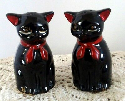 Vintage Black Cats Salt and Pepper *JAPAN* with Noisemakers