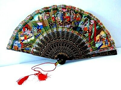 Vintage Japanese Hand Carved Wood Painted Silk Cloth Hand Held Fan 15.5 Inches!