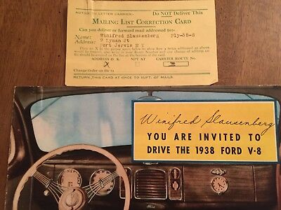 """Original """"you Are Invited To Drive The 1938 Ford V-8"""" Sales Brochure"""