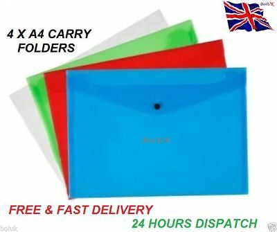 4/1 A4 Plastic Carry Folders Pack Document Stud Wallets Mix Colour Paper Storage