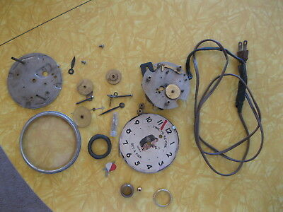 VINTAGE TELECHRON ELECTRIC ADVERTISING FISK TIRE CLOCK PARTS apart
