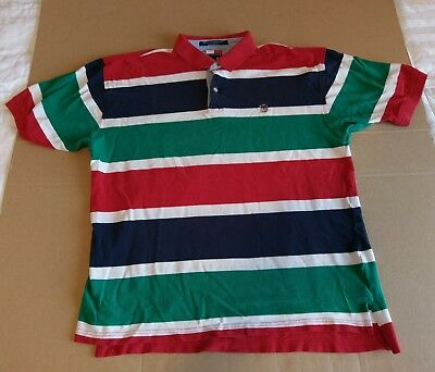 Men's Vintage Tommy Hilfiger XL Striped Short Sleeve Polo Shirt Green Red Blue