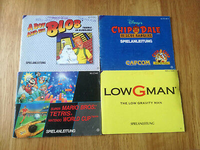 * 4x NES Anleitung * PAL B - Low G Man Chip Dale Mario Boy Blob Worldcup