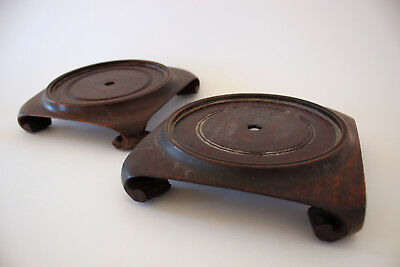 A Matched PAIR of Beautiful OLD CHINESE Carved HARD WOOD Stands LOT 2b