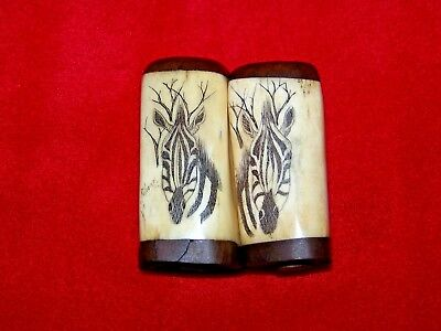 FINE OLD AFRICAN BONE/TUSK/HORN SALT & PEPPER SHAKERS w/ SCRIMSHAW ZEBRA ARTWORK