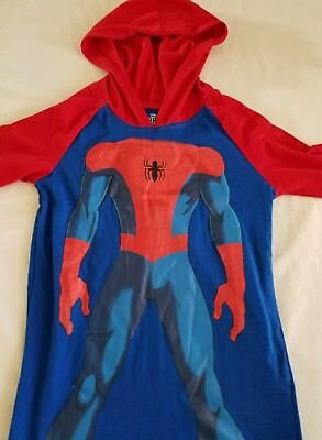 Marvel Spider-Man Pullover Hooded Hoodie Youth Sz 7 Red & Blue Lightweight L/s